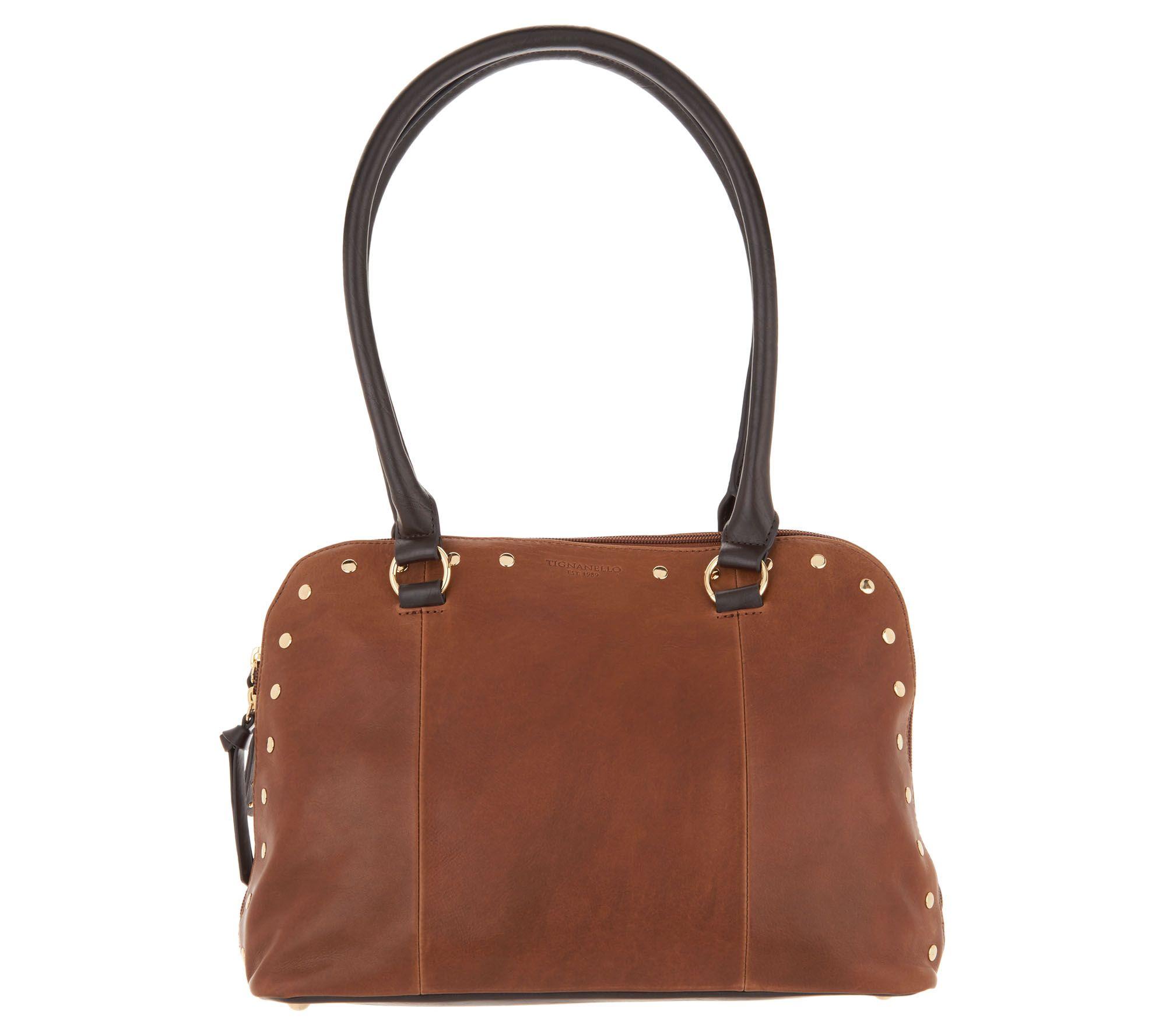 Tignanello Vintage Leather Mojave Dome Per Handbag Page 1 Qvc
