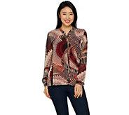 Susan Graver Printed Sheer Chiffon Shirt and Knit Tank Set - A297154