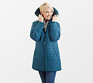 Susan Graver Quilted Puffer Jacket with Faux Fur Trimmed Hood - A300454