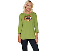 Bob Mackies Embroidered Sequin Animal Knit T-Shirt - A302754