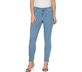 G.I.L.I. Petite Washed Denim Ankle Zip Jeans