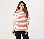 Denim & Co. Active Elbow-Sleeve French Terry Striped Top - A305054