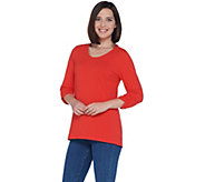 Denim & Co. Essentials Scoop-Neck Knit Top with Shirring Detail - A309454