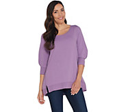 H by Halston French Terry 3/4 Sleeve Scoop Neck Top - A311454
