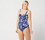 Denim & Co. Beach Ruched One Piece Swimsuit - A350354