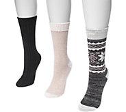 MUK LUKS Womens Three-Pair Pack Boot Socks - A361454