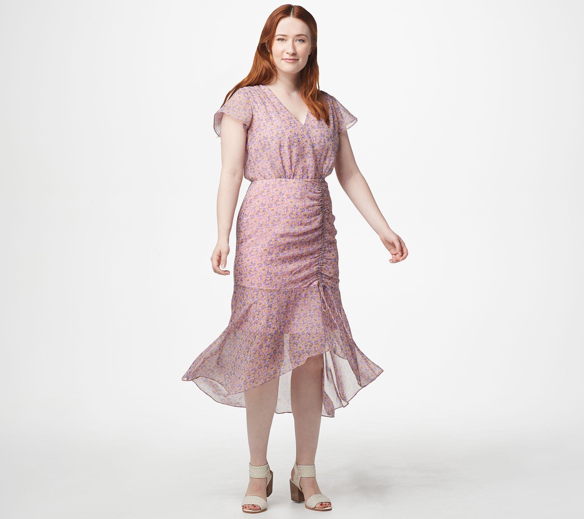 61d69224eba8 Sam Edelman Printed Ruched Midi Dress - Page 1 — QVC.com