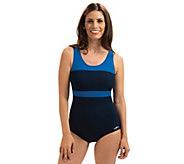 Dolfin Aquashape Color Block Conservative Lap Swimsuit - A423954