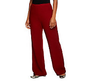 Bob Mackies Regular Fit Elastic Waist Crinkle Knit Pants - A236155
