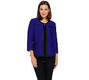 Joan Rivers Quilted Knit 3/4 Sleeve Jacket w/ Faux Leather Trim - A268655