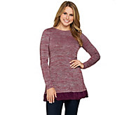 LOGO by Lori Goldstein Space Dye Sweater Knit Top with Trim - A282155