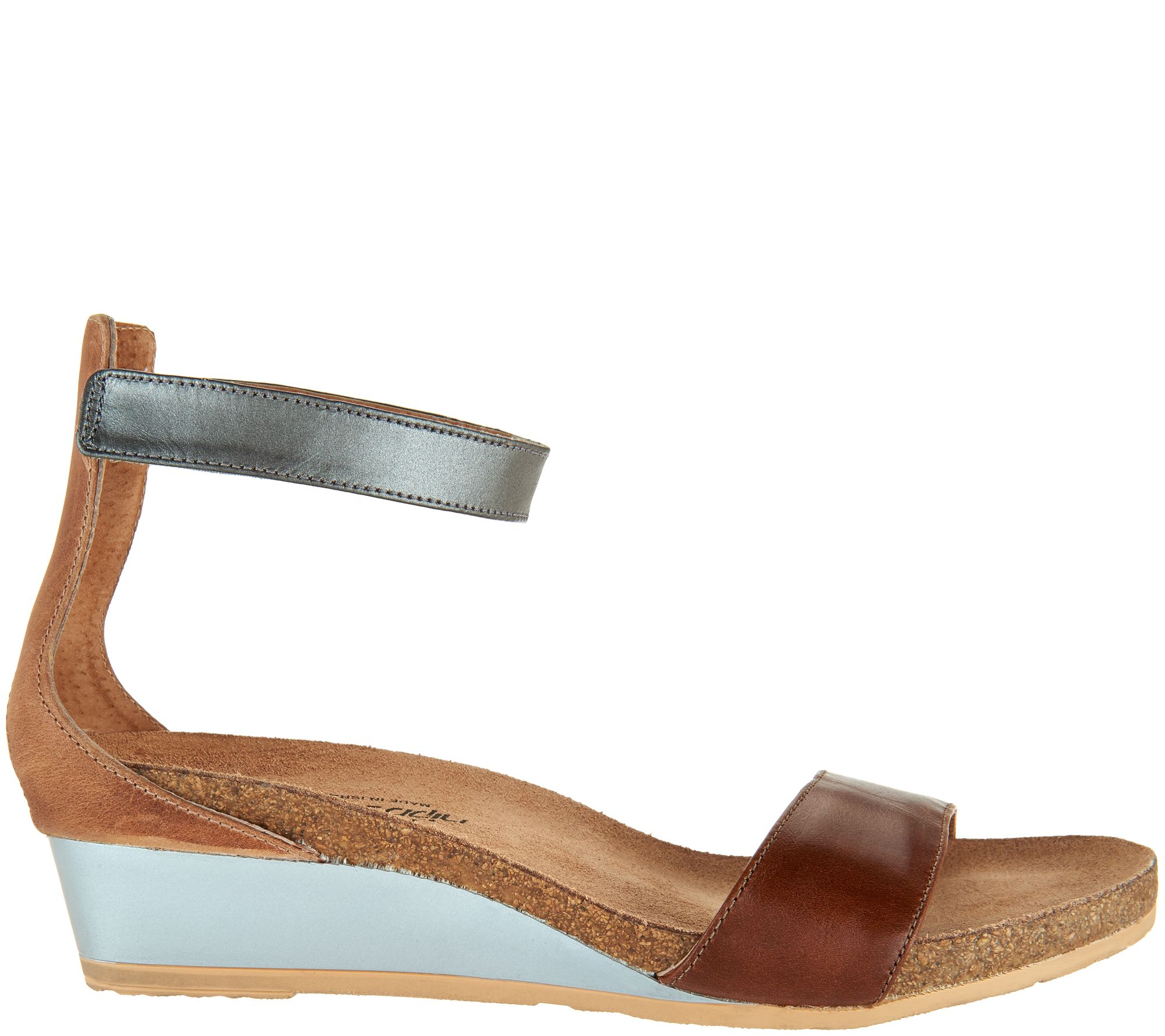 eaed1b523c6a Naot Leather Ankle Strap Wedge Sandals - Pixie - Page 1 — QVC.com