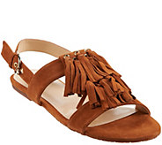 C. Wonder Suede Fringe Slingback Sandals - Jessica - A288555