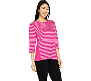 Denim & Co. Active Striped 3/4 Sleeve Round Neck Top - A291655