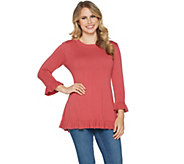 Isaac Mizrahi Live! 3/4 Sleeve Peplum Sweater with Ruffle Hem - A294255