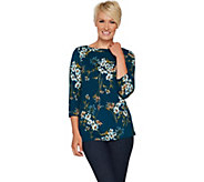 Susan Graver Brushed Printed Liquid Knit Bateau Neck Top - A294855