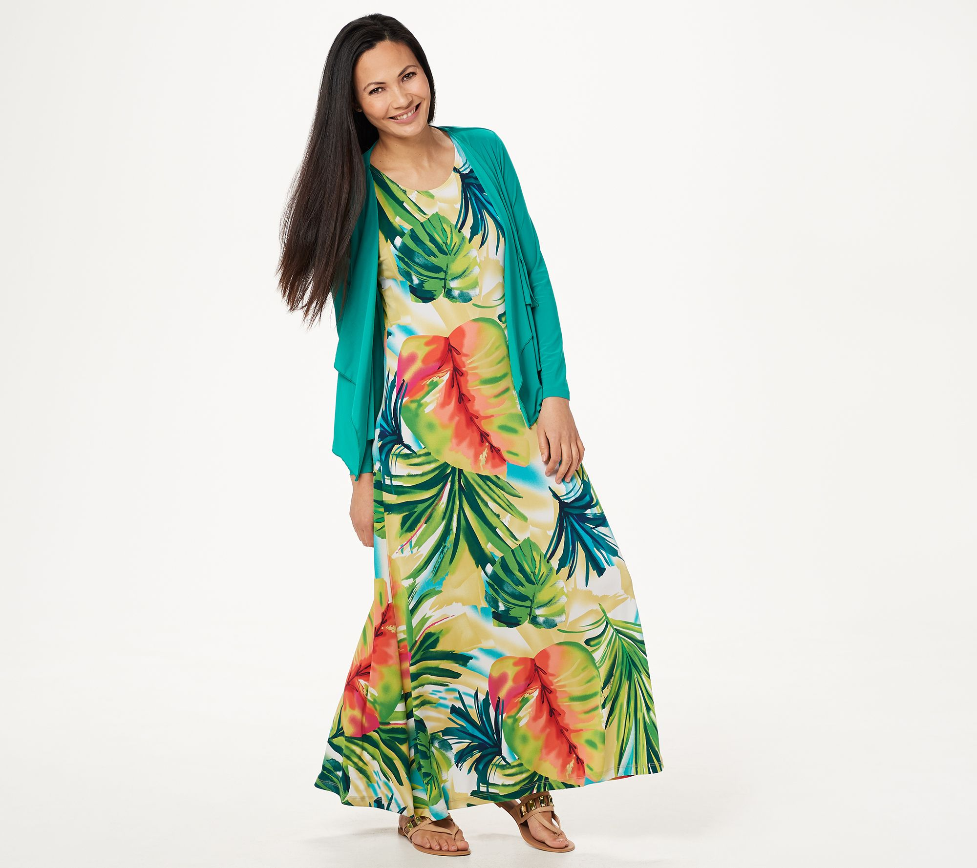 9ff8215451065 Attitudes by Renee Regular Printed Maxi Dress with Cardigan - Page 1 —  QVC.com