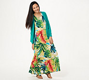 Attitudes by Renee Regular Printed Maxi Dress with Cardigan - A306555