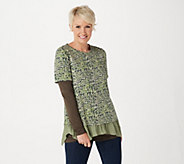 LOGO by Lori Goldstein Printed Cotton Modal Top & Tee Twin - A309155