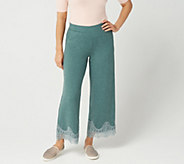LOGO Lounge by Lori Goldstein Jersey Wide-Leg Pull-On Pant with Lace - A347455