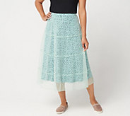 LOGO by Lori Goldstein Mesh Skirt with Knit Underlay - A347655