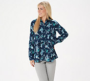 Joan Rivers Silky Floral Print Double Layer Blouse - A349355