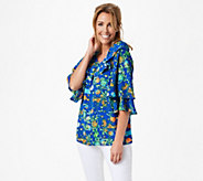 Linea by Louis DellOlio Exotic Floral Printed Top - A349655
