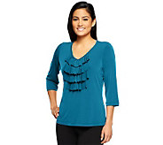 Susan Graver Liquid Knit 3/4 Sleeve V-Neck Top with Ruffle Front - A93455