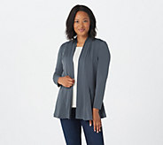 Susan Graver Liquid Knit Long Sleeve Open Front Cardigan - A255956