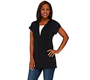 Susan Graver Premier Knit Extended Sleeve Tunic with V-Neck Inset - A265856