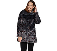 Dennis Basso Platinum Collection Jacquard Faux Fur Coat - A284856