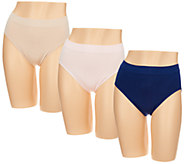 Breezies Set of 3 Seamless Hi Cut Panties - A292256