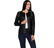 Belle by Kim Gravel Faux Leather Jacket with Embroidery - A296556