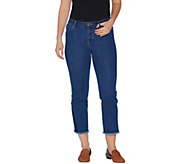 LOGO by Lori Goldstein Petite Straight Leg Crop Jeans w/ Hem Detail - A302056