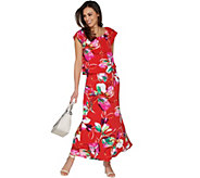 Susan Graver Printed Liquid Knit Maxi Dress - A302656