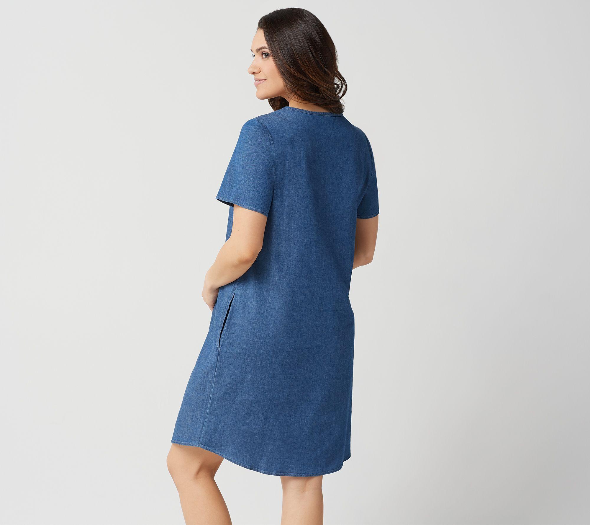 2e0eaf3333 Denim   Co. Embroidered Stretch Chambray Split V-Neck Dress - Page 1 —  QVC.com