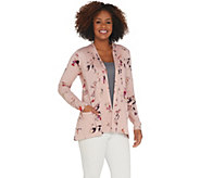 LOGO by Lori Goldstein Printed Cotton Cardigan with Pleats - A305456