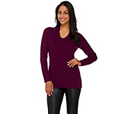 As Is Isaac Mizrahi Live! 2-Ply Cashmere V-Neck Pullover Sweater - A305856