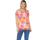 Isaac Mizrahi Live! Short Sleeve Printed Lace Knit Top - A306456