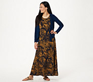 Attitudes by Renee Petite Printed Maxi Dress with Cardigan - A306556