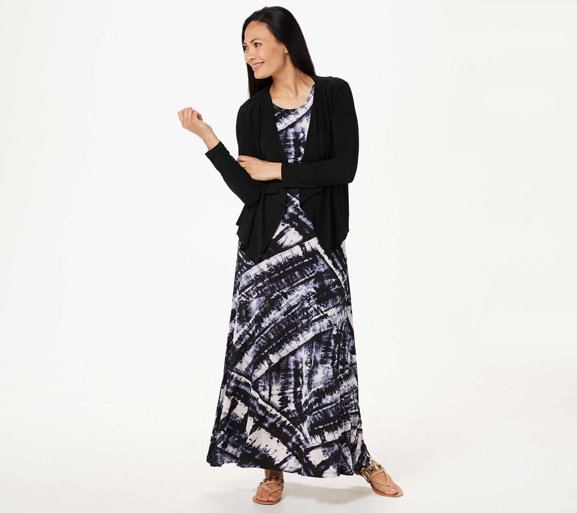 d7ff9c0f0c28 Attitudes by Renee Petite Printed Maxi Dress with Cardigan - Page 1 —  QVC.com