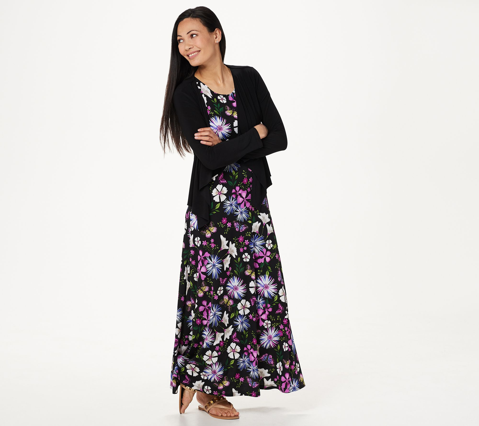 06f549dc8921 Attitudes by Renee Petite Printed Maxi Dress with Cardigan - Page 1 —  QVC.com