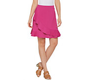 Isaac Mizrahi Live! Pebble Knit Wrap Skort with Ruffle - A306756