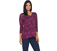 H by Halston Floral Printed 3/4-Sleeve V-Neck Top - A343456