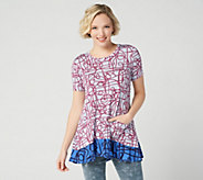 LOGO by Lori Goldstein Printed Knit Top with Contrast Hem - A347456