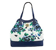 As Is Isaac Mizrahi Live! Bridgehampton Floral Canvas w/ Turnlock - A238857