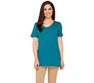 Liz Claiborne New York Essentials Short Sleeve U-Neck Tunic - A261257