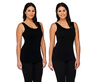 Isaac Mizrahi Live! Set of Two Solid & Texture Seamless Tanks - A263857