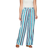 Denim & Co. Beach Vertical Printed Pull-On Pants - A275257