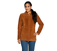 As Is Liz Claiborne New York Suede Zip Front Barn Jacket - A277457